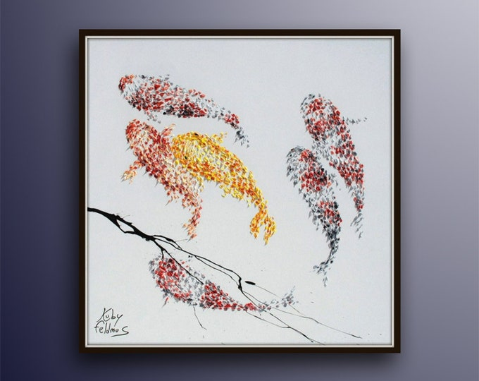 """Koi fish  Feng shui 35"""" - Modern beautiful artwork on canvas, thick layers, gives extremely good vibes,  by Koby Feldmos"""
