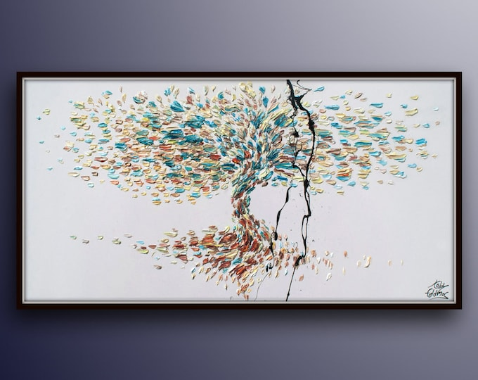 """Tree of Life 67"""" Original oil painting on canvas, Luxury thick layers tree of Life, Gives extremely good vibes, by Koby Feldmos"""
