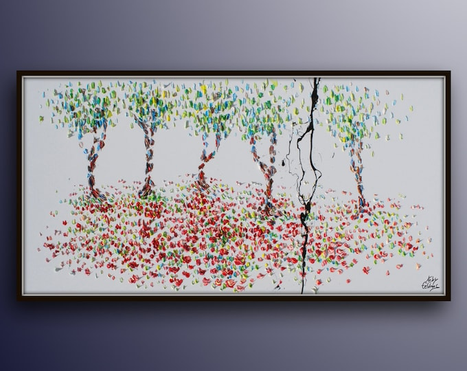 """Trees in Forest 55"""" Original oil painting on canvas, Beautiful red and green colors, Gives extremely good vibes, by Koby Feldmos"""