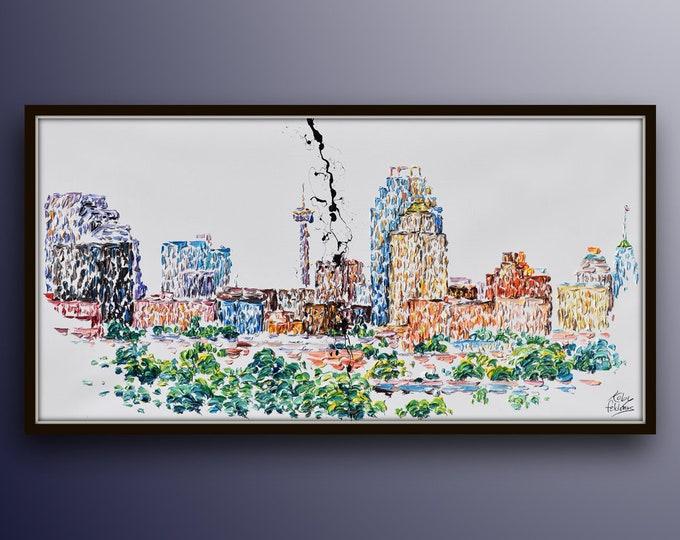 "San Antonio Texas Skyline 55"" - beautiful luxurious cityscape artwork of the cist, vast oil colors and texture, By know artist Feldmos"
