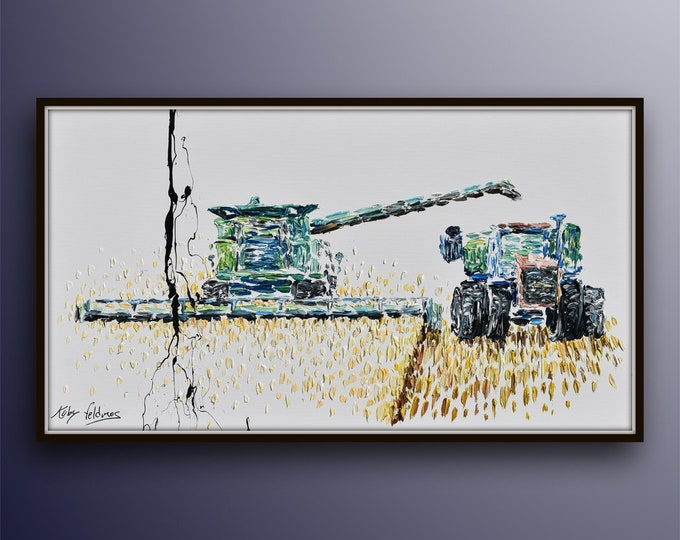 """Grain Mower 55"""" - Original oil painting on canvas beautiful composition, handmade art, thick oil paint texture, by Koby Feldmos"""