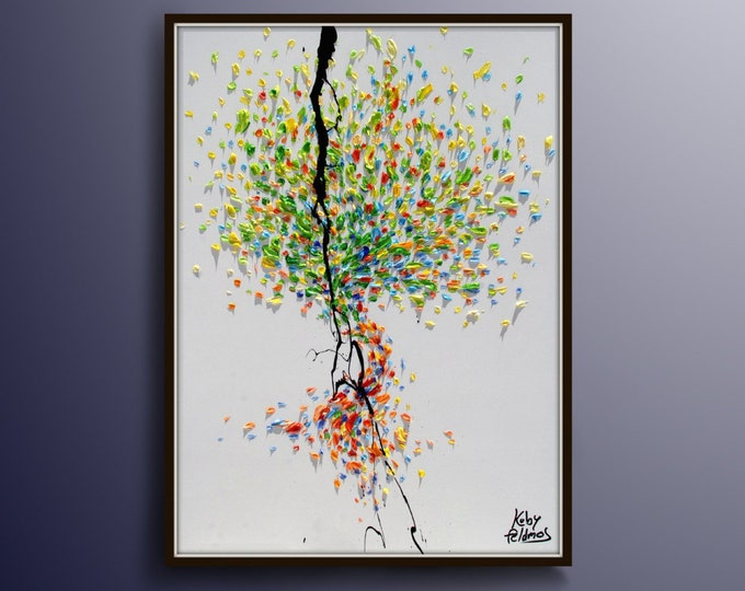 """Tree 30"""" Original oil painting on canvas, Luxury thick layers tree of Life, Gives extremely good vibes, by Koby Feldmos"""