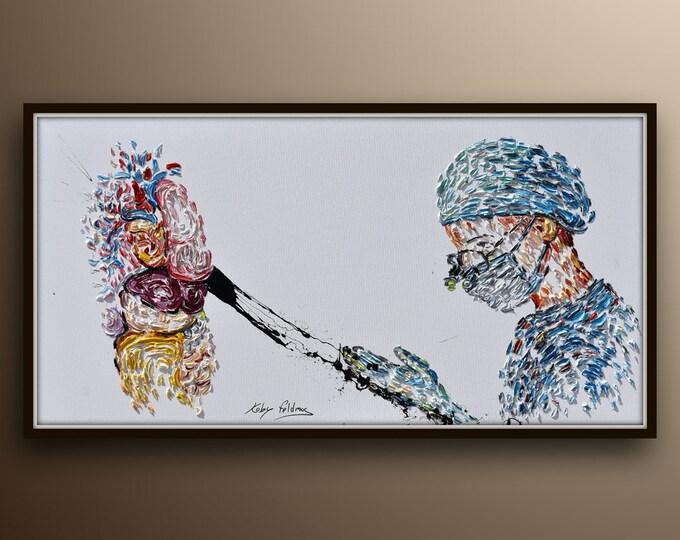 "Surgeon & Human body 67"" , beautiful original art for office, gift to doctor, neurosurgeon, general surgery, by Koby Feldmos"