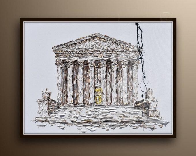 """Supreme court 40""""x30"""" original oil painting on canvas, lawyer office painting, painting for office, office painting, judge office"""