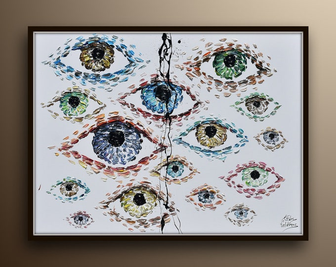 """Unique & original eyes 40"""" painting,  beautiful combination of colors thick texture impasto style by Koby Feldmos"""