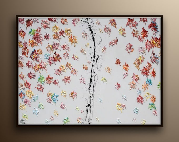 """Amazing! Leaves Painting 60""""/40""""  Foliage leaf Autumn oil painting, Extremely rich texture, Luxury looks, calming colors, by Koby Feldmos"""