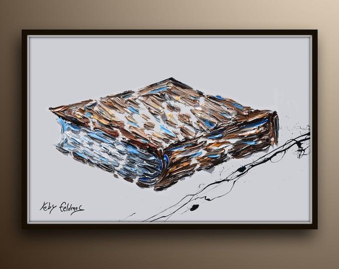 "Book 30"" reading book, gift for writer, for office, office painting, brown art painting, orl painting by Koby Feldmos"