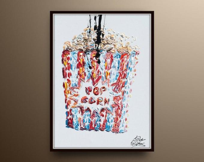 "Popcorn POP ART 40"" Amazing Pop art style contemporary oil painting, food, Pop corn, beautiful thick layers handmade by Koby Feldmos"