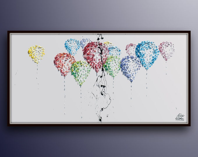 """Painting 55""""  Balloons, Optimistic colorful original and handmade oil painting on canvas, Stuck on invisible ceiling (helium) Koby Feldmos"""