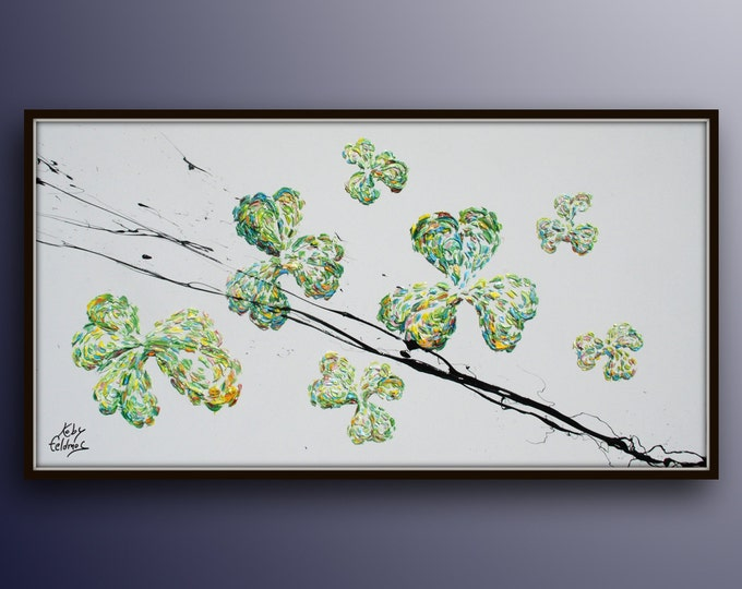 """Clover Leaves 55"""" Original oil painting on canvas, handmade, relaxing green colors, Large artwork, floral, handmade by Koby Feldmos"""