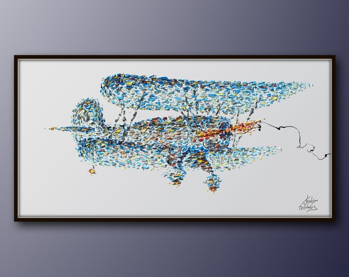 """Painting 55"""" Airplane retro painting vintage style thick painting original oil painting on canvas, plane painting, By Koby Feldmos"""