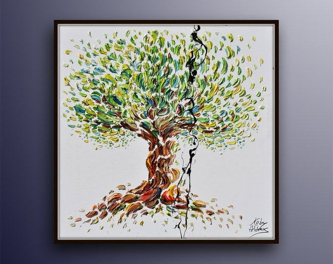 """Tree painting 35"""" - Beautiful & Colorful olive Tree , Original Oil Painting By Koby Feldmos , Certification Attached"""