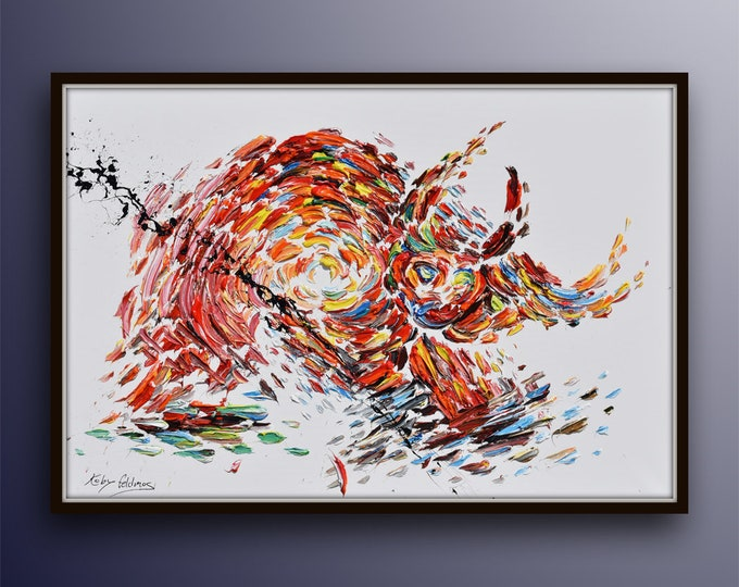 """Abstract  BULL 60""""/40"""" oil painting on canvas, office painting, thick oil layers, Luxury looks, By Koby Feldmos"""