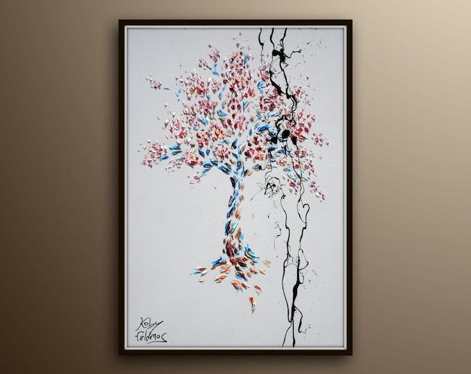 "Sakura Tree painting 40"" - Beautiful pink Sakura tree painting, oil painting on canvas, contemporary art, gift idea, by Koby Feldmos"