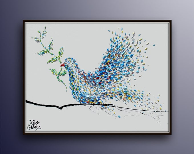 """Dove with olive branch 40"""" - Bible painting ,symbol of peace, Christian Art  Noah's ark, religious artwork by Koby Feldmos"""