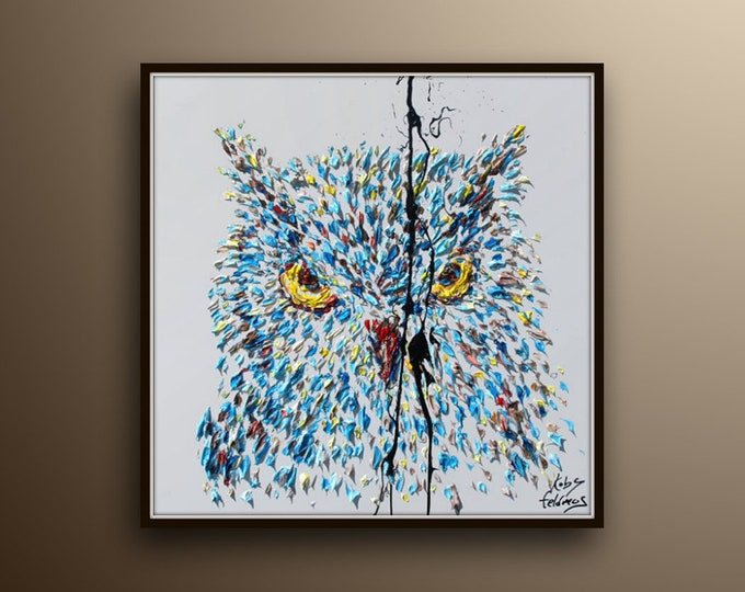 """Painting 35"""" Owl Animal Painting , Original Handmade oil painting on canvas, Modern looks, thick layers, By Artist By Koby Feldmos"""