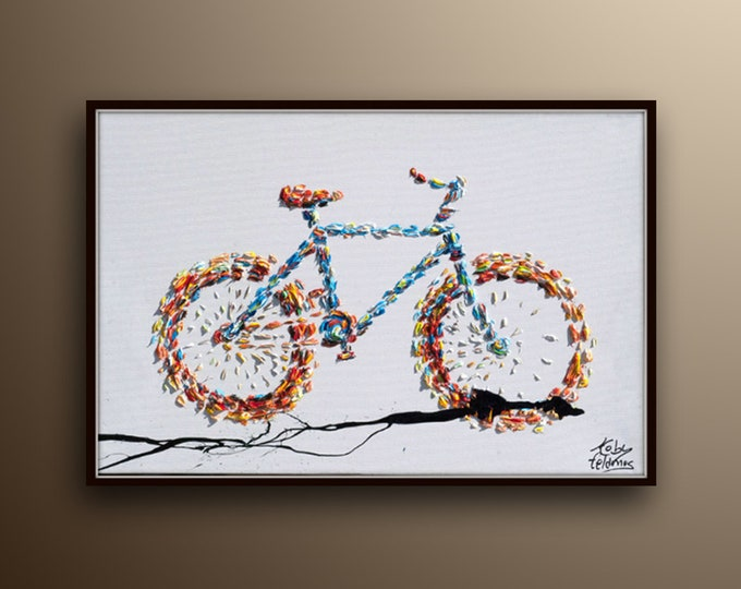 """Bicycle Painting - 30"""" , Original oil painting on canvas, Contemporary art, thick oil layers, Ready to hang,  By Koby Feldmos"""