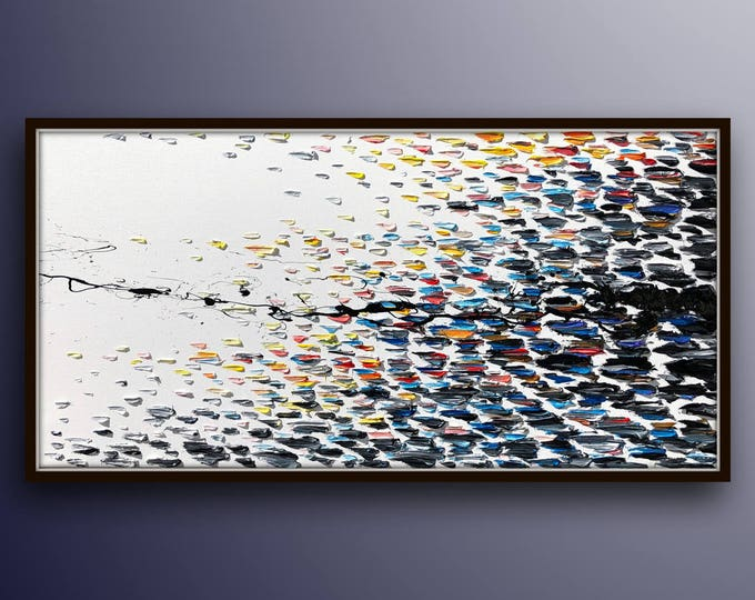"""AMAZING 67"""" Abstract painting Black white and colors , beatiful thick texture of oil, large painting original painting by Koby Feldmos"""