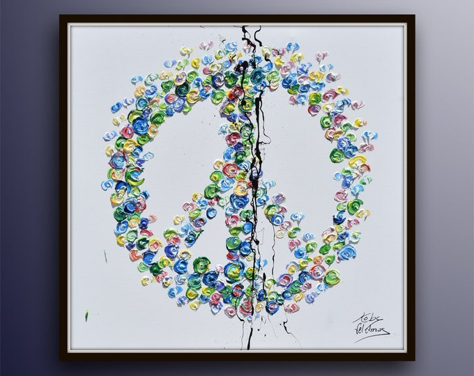 """Peace Symbol 35""""  Amazing colors, beautiful rich texture, relaxing and elegant oil painting by Koby Feldmos"""
