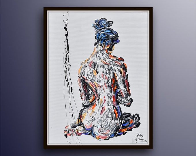 """Beautiful Woman 40"""" Classical woman sitting, beautiful composition, thick luxurious texture, artistic looks, handmade by Koby Feldmos"""