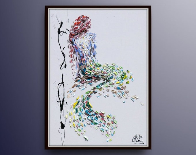 "Mermaid 40"" Beautiful looks relaxing painting, oil painting on canvas, handmade item, modern style, original handmade by Koby Feldmos"