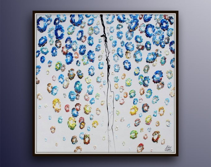 """SUPER HUGE !!! oil Painting - 45"""" Abstract Curtain of Blue balls  Amazing texture, oil painting on canvas, Handmade and art, Koby Feldmos"""