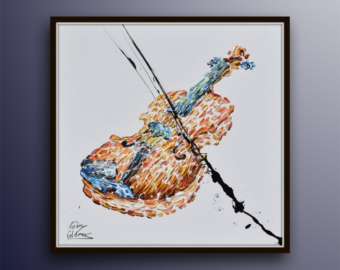 """Violin Painting 35"""", music instrument, Original & Hand Made , Home Decor, original art, Certification Attached , Painted by Koby Feldmos"""