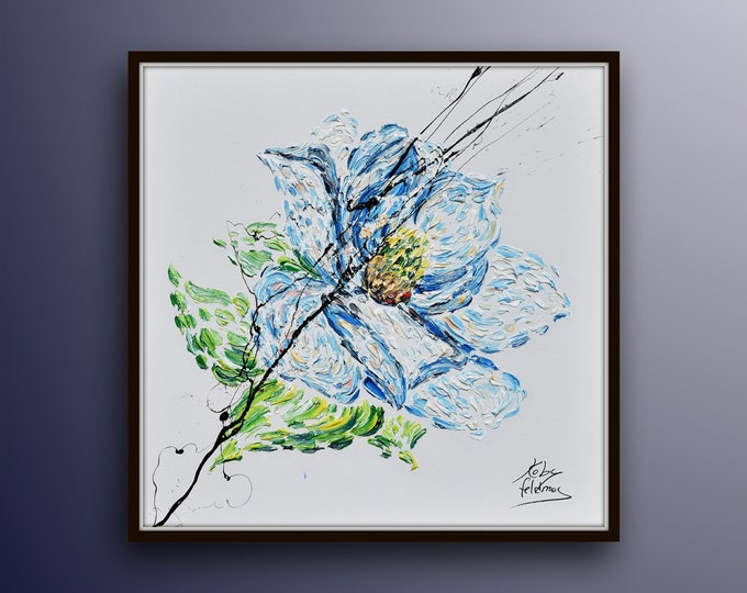 """Blue Flower 25"""" Original oil painting on canvas, Luxury thick layers Gives extremely good relaxing vibes, by Koby Feldmos"""