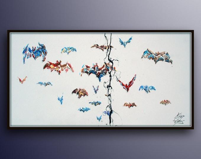 "Bat 55""  Oil Painting , Bats painting, bat, wings , animal art, texture painting, bats flying, By Koby Feldmos"