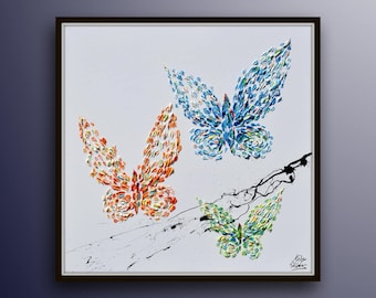 "Butterfly painting 35"" Oil Painting of 3 Beautiful butterflies Pastel Oil Colors on canvas, Original Version, By Koby Feldmos"
