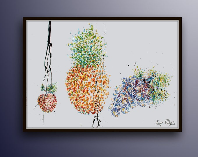 """Fruits Painting 40"""" original oil painting on canvas, food, kitchen, gift idea, unique texture, beautiful art  by the Legendary Koby Feldmos"""