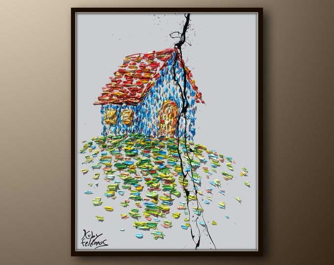"""Oil Painting 40"""" House, original handmade oil painting on canvas, thick layers, contemporary art, Modern style, By Koby Feldmos"""