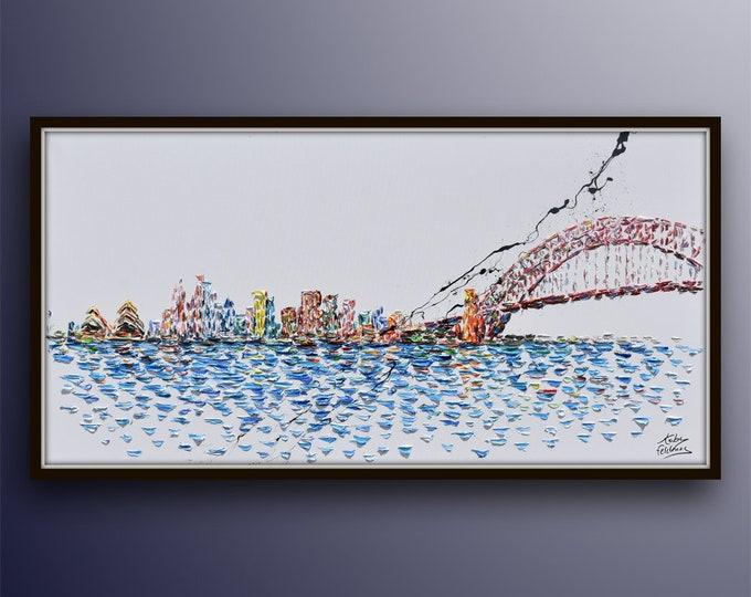 "Australia Skyline 55"" , original oil painting on canvas, rich texture, large canvas, luxury looks, handmade artwork by Koby Feldmos"