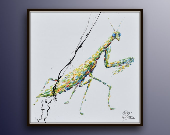"Green Mantis Oil Painting 25"",  Original oil painting on canvas, lightning colors, handmade original  animal art by Koby Feldmos"