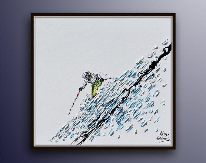 "Ski 35"" Sport art, skying on snow, skier on snowy mountain, gift idea, custom order painting, snow, winter sport, by Koby Feldmos"