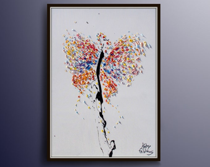 """Butterfly Painting 30""""  Animal Butterfly Painting, Original Art on Canvas, Express shipping, by Koby Feldmos"""