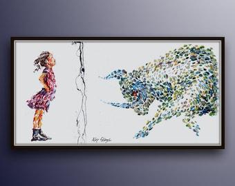 """Office painting 67"""" Fearless girl , oil painting on canvas, Bull vs. Girl, Stock exchange market, business art, art for office, Koby Feldmos"""