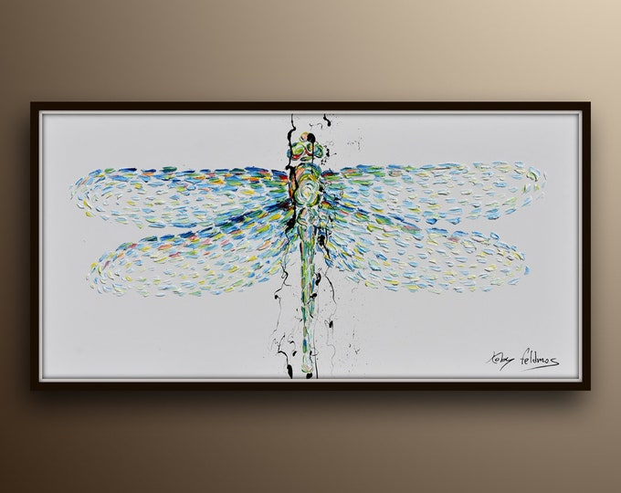 """Dragonfly 55"""" Beautiful painting of two dragonflies together, relaxing colors, thick oil layers, modern contemporary looks, by Koby Feldmos"""