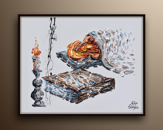 "Shabbat 40"" Kiddush Sabbath Shabbos, jewish artwork, Judaism rest day, biblical art, Shabbat candles Judaica painting, Israeli art, Feldmos"