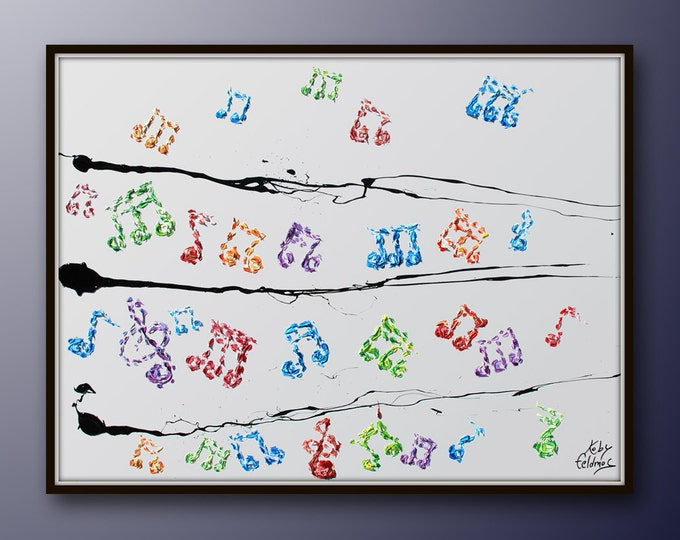 """Painting 40"""" Piano Notes , Beautiful Colorful Oil painting on Canvas, Original art Handmade , Express Shipping Worldwide, by Koby Feldmos"""