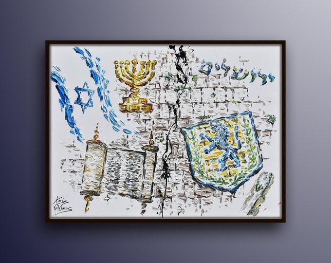 "Jew symbols collage 40"" Jerusalem Israel, Israeli flag, menorah , temple of Jerusalem, western wall, sefer torah, bible, by Koby Feldmos"
