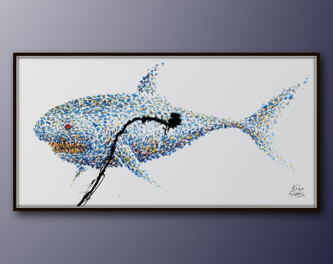 """Shark painting 67"""" Strong Animal Original oil painting on canvas, Beautiful shades of blue, Very powerful painting, by Koby Feldmos"""