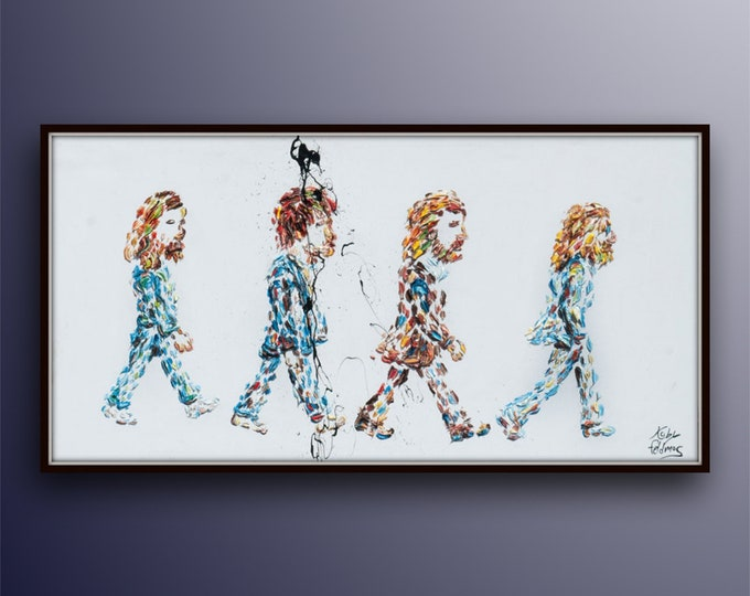 """Painting 55"""" The Beatles Original oil painting on canvas, Extremely unique, modern style handmade by Koby Feldmos"""