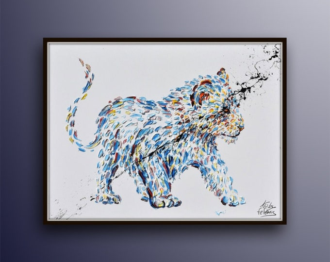 """Painting 40""""  Baby Lion, Lion Cub original oil Painting on canvas, Modern Art,  Express Shipping, By Koby Feldmos"""