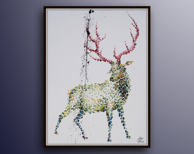 """Amazing! Animal Dear 40""""  Original handmade oil painting on canvas, thick oil layers, Luxury looks, Express, By Koby Feldmos"""