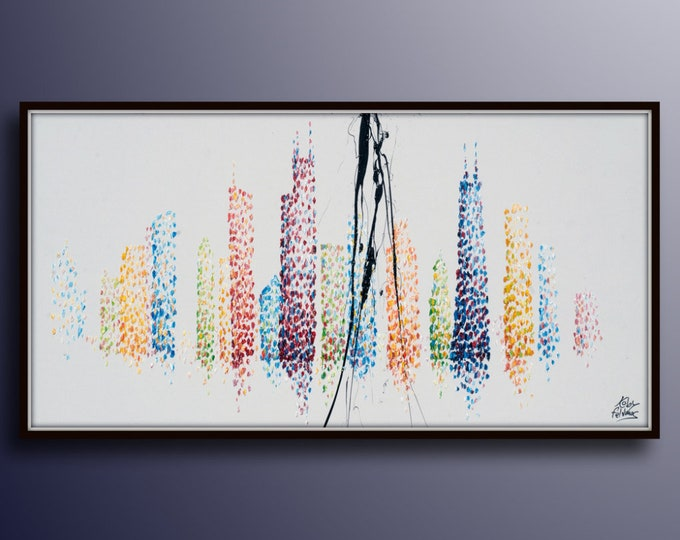 """Chicago 55"""" Skyline cityscape original oil painting on canvas, thick layers, Luxury looks, Large canvas, By Koby Feldmos"""