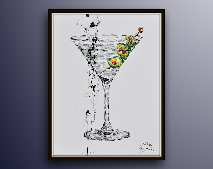 """Martini Cocktail painting 40"""" timeless gin vermouth olives, Contemporary luxury art, handmade by Koby Feldmos"""