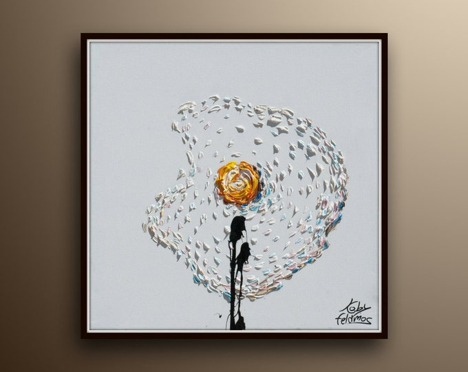 """Fried egg 25""""  Pop Art style, thick oil paint impasto style modern Art on canvas , Express shipping worldwide, By Koby Feldmos"""