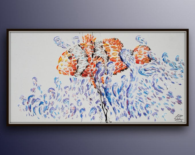 """Clown Fish 55"""" Animal Fish art , Beautiful mesmerizing colors of violets and orange, thick texture, calming colors, By Koby Feldmos"""
