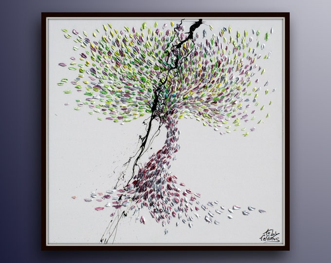 """Tree painting  35"""" - Beautiful & Colorful Abstract Tree , Original Oil Painting By Koby Feldmos , Certification Attached"""